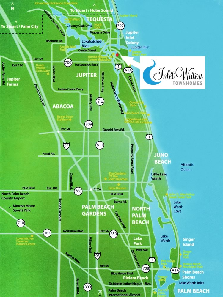 Map of Inlet Waters Townhomes location in Jupiter, Florida